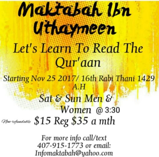 Maktabah Class flyers